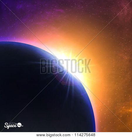 Vector sunrise over the planet. Beautiful dawn from space point of view. Cosmic background.