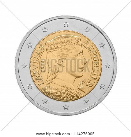 Two euro coin Latvia. Reverse side