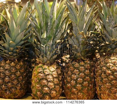 Many Fresh Pineapple For Sale In The Local Market