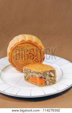 Fruits and Nuts Mooncake with Egg, Chinese sweet.