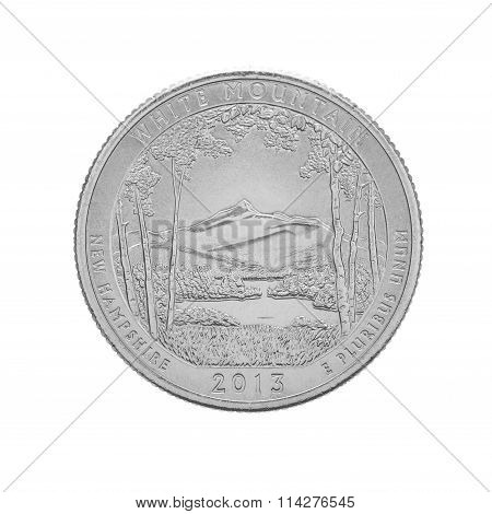 US quarter coin, White Mountain New Hampshire