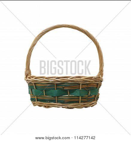 Empty Wicker Basket Isolated On White Background.