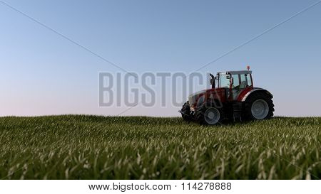 red general tractor in green field