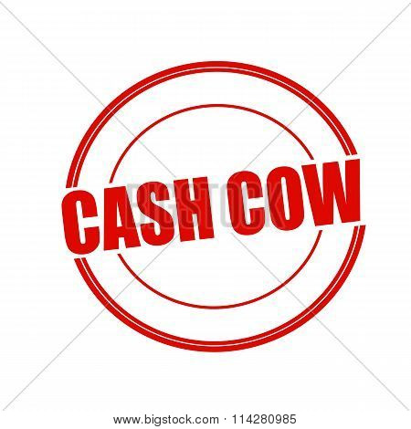 Cash Cow Red Stamp Text On Circle On White Background