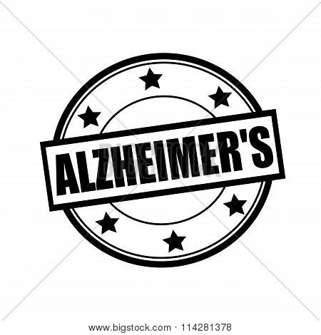 Alzheimer's Black Stamp Text On Circle On White Background And Star