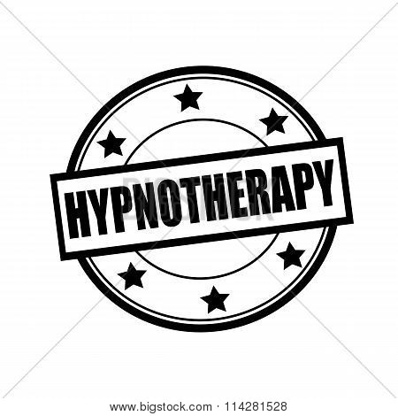 Hypnotherapy Black Stamp Text On Circle On White Background And Star