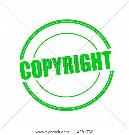 Copyright Green Stamp Text On Circle On White Background
