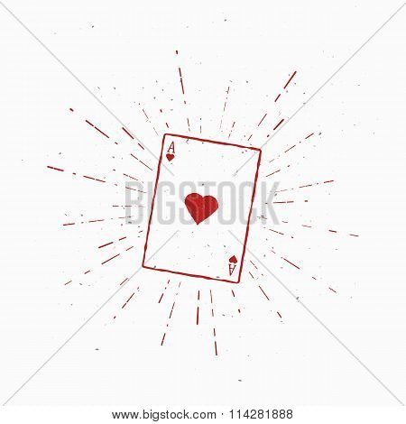 Ace of Hearts. Vintage Vector Illustration