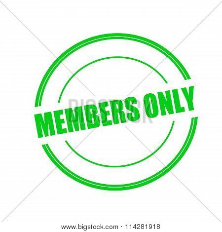 Members Only Green Stamp Text On Circle On White Background