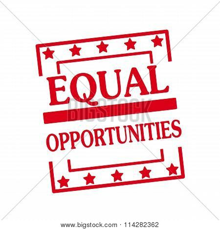 Equal Opportunities Red Stamp Text On Squares On White Background