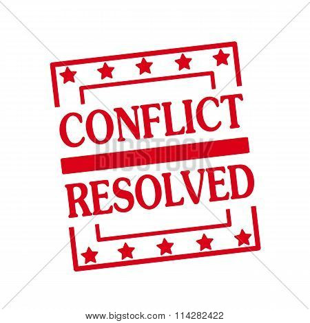 Conflict Resolved Red Stamp Text On Squares On White Background