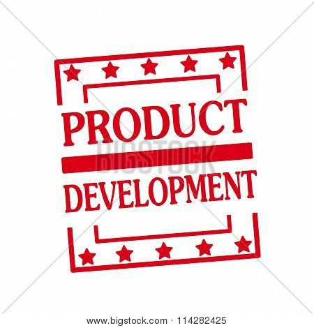 Product Development Red Stamp Text On Squares On White Background