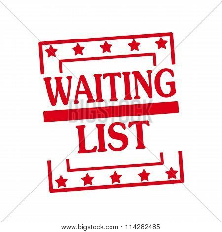 Waiting List Red Stamp Text On Squares On White Background