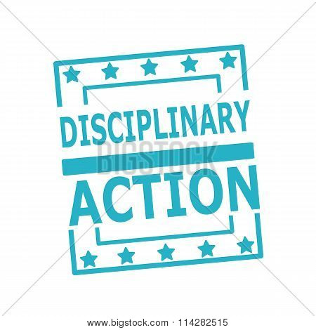 Disciplinary Action Blue Stamp Text On Squares On White Background