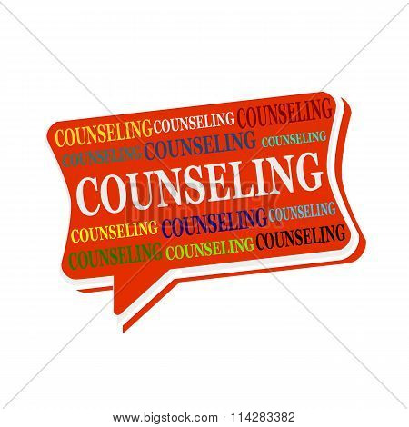 Counseling Multicolored Word On Red  Speech Bubbles