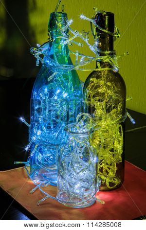 Christmas decorations, glowing light bulb in the bottle. Led light bulb glow, decor