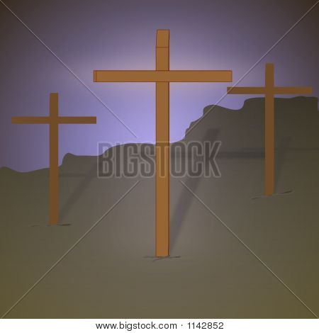 Three Crosses With Halo