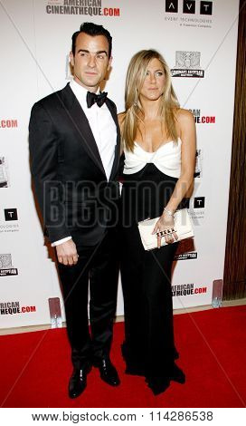Jennifer Aniston and Justin Theroux at the 26th American Cinematheque Award Honoring Ben Stiller held at the Beverly Hilton Hotel in Los Angeles, California, United States on November 15, 2012.