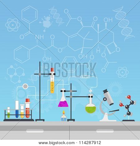Chemical laboratory science and technology flat style design vector illustration. Workplace tools co