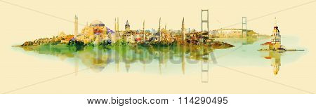 watercolor vector ISTANBUL city