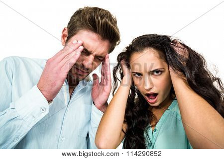 Troubled couple having argument on white background