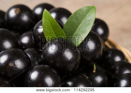 Berry Jaboticaba In Bowl On Wooden Table