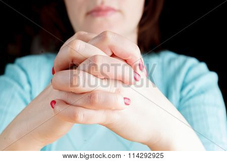 Woman Waiting With Fingers Crossed