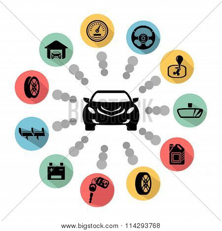 Car Parts Vector Icons. Vector Symbols. Business Icon