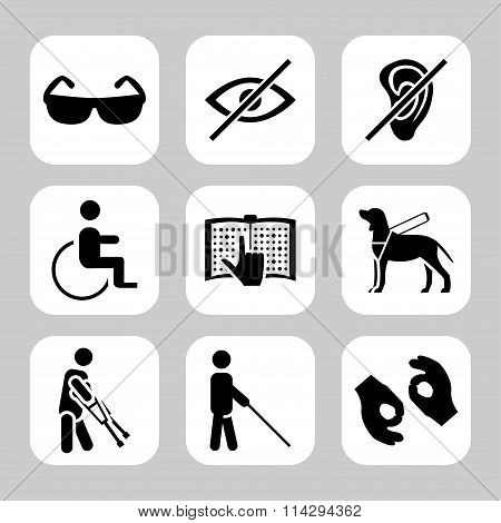 Physically Disability Related Vector Icon Set. Vector Symbols. Vector Illustration