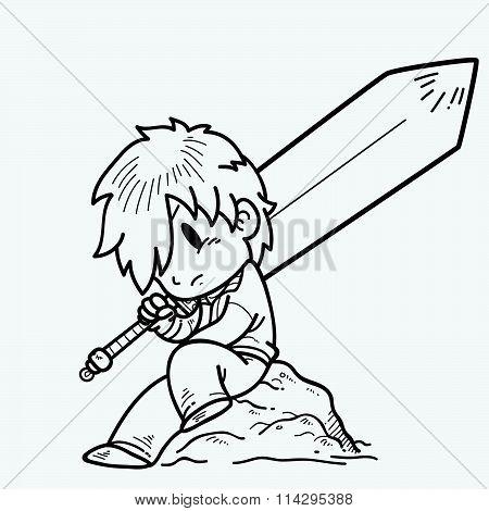 Doodle swordsman