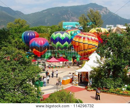 Hot air balloons in Ocean park, Hong Kong
