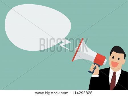 Businessman Holding A Megaphone With Bubble Word