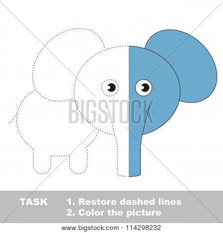Elephant To Be Colored. Vector Trace Game.