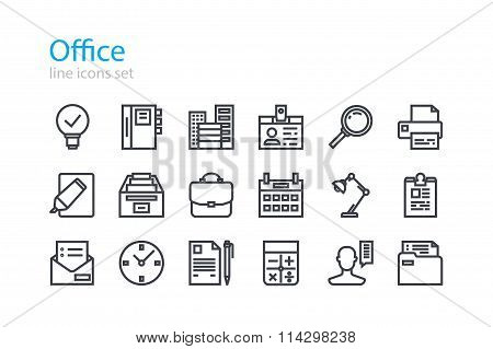 Office. Colorless line icons set. Stock vector.