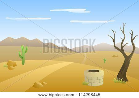 Landscape hills desert day road mountains illustration vector