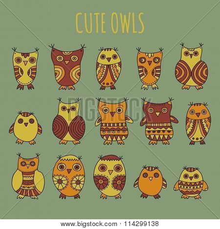 Set of cartoon owls and owlets on a light grey background