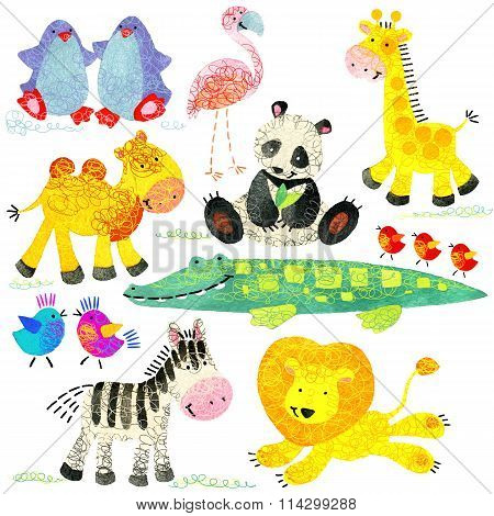 Watercolor zoo animals set. Cartoon wild animal. Cartoon zoo animal. Watercolor animal giraffe, peng