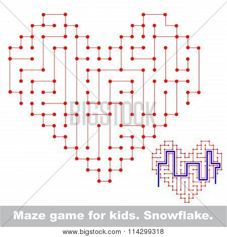 Heart kid maze game. Search the way.