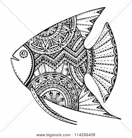 Vector Beautiful Hand Drawn Fish In Zentangle Graphic Style