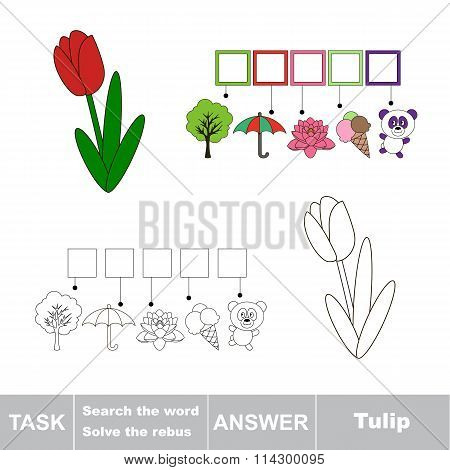 Vector game. Search the word. Find hidden word Tulip