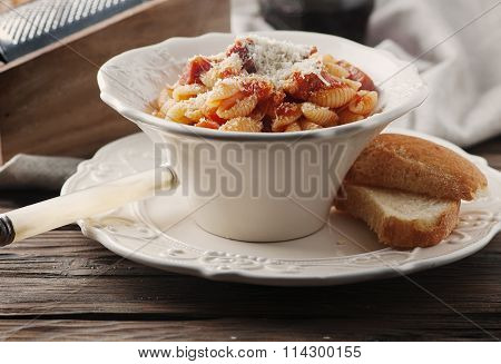 Sardinian Traditional Pasta Malloreddus With Sausage