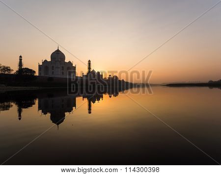 Reflection Of The Taj Mahal Seen From The Yamuna River