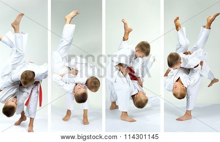 Collage athletes on a light background are training judo throws