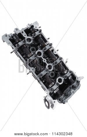 real used car motor head engine four cylinder isolated over white background