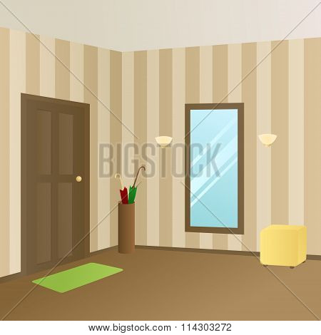 Modern interior hallway room beige door illustration vector