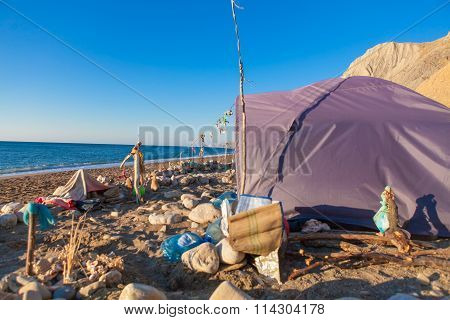 tent on the seaside