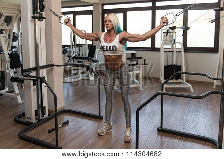 Mature Bodybuilder Is Working On Her Chest