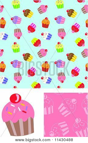 Cute Cupcake Seamless Vector