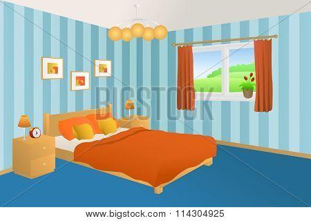 Modern bedroom interior blue orange yellow bed pillows lamps window illustration vector