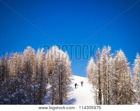 Two Men Climbing A Snow Covered Hill